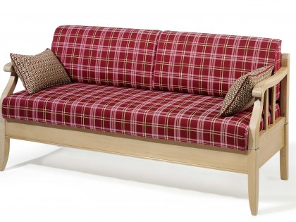 Sofabank KREUTH mit Holzgestell in Fichte gebeizt und gewachst, Sitz aufklappbar mit Stauraum.