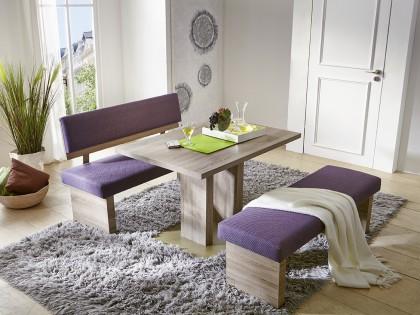 Tischgruppe TRIO mit Bankteil und Vorbank. Stoffbezug: Nr. 152