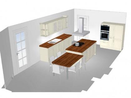 Digitale Küchenperspektive mit Sitzgruppe