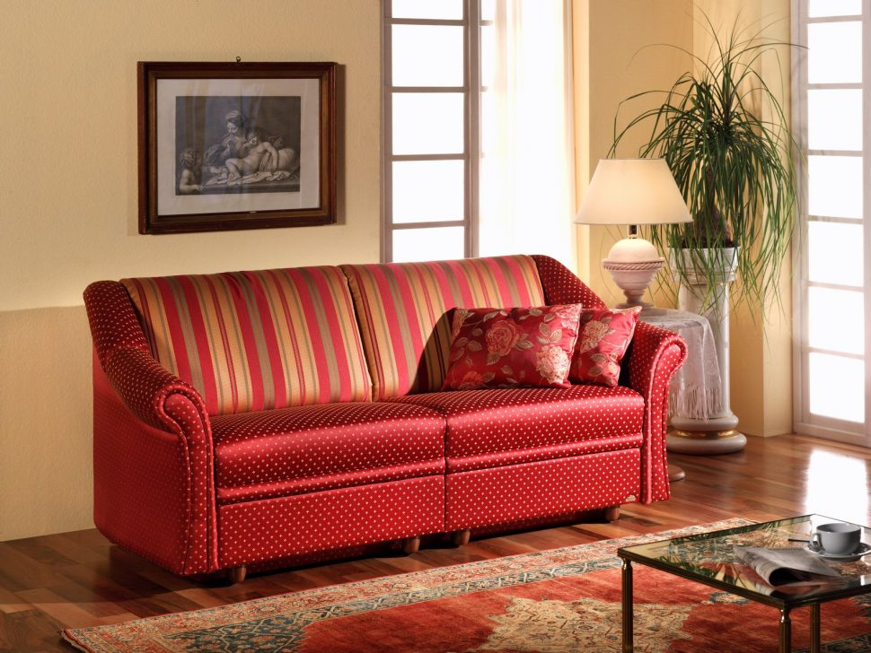 Bettcouch IDYLLE Doppelbettcouch einzeln ausziehbar, Stoffbezug Madeira uni rosso