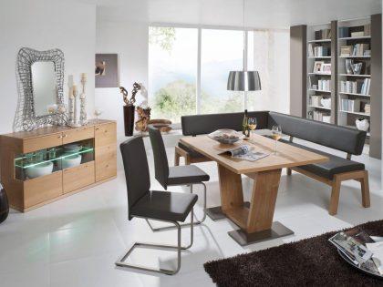 Eckbank AVELLINO 165 X 205 cm in Eiche mit Säulentisch 130 X 90 cm und 2 Stühle