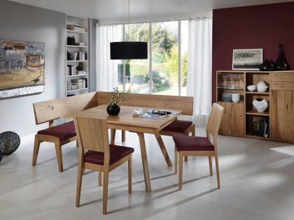 Tischgruppe BOLOGNA 155 X 195 cm mit Vierfußtisch und Stühle in Asteiche