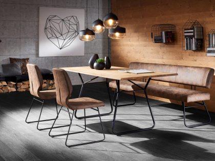 Tischgruppe COUNTRY mit Einzelbank 200 cm, Kufentisch 160 X 90 cm und 2 Metallstühle gepolstert