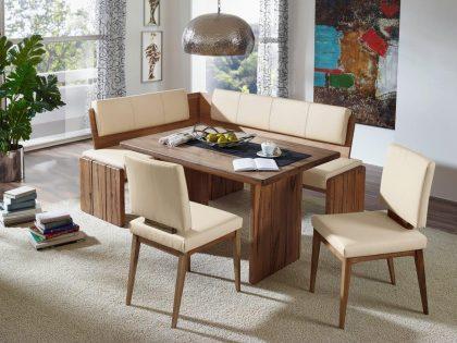 Eckbank KANSAS mit Wangentisch 130 X 90 cm und 2 Stühle. Polsterung mit Kunstleder