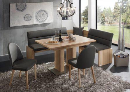 Tischgruppe LADY gepolstert mit Säulentisch und Stühle in Kernbuche