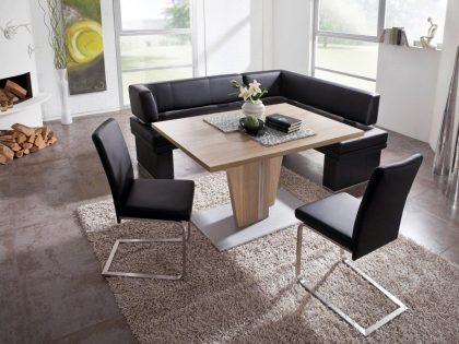 Polsterbank MANHATTEN mit Säulentisch und 2 Freischwinger-Stühle. Polsterung mit Echtleder