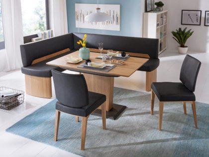Eckbank ONTARIO in Eiche, Säulentisch 130 X 90 cm und 2 Stühle