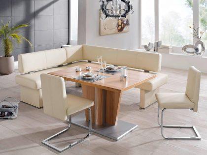 Polsterbank QUEENS 215 X 175 cm mit Säulentisch und Freischwinger