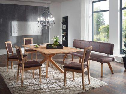 Tischgruppe SMART mit Einzelbank, Tisch und 4 Stühle in Eiche. Bezug Echtleder mit Softsitz