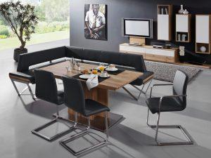 Eckbankgruppe VISTA mit Edelstahlkufen gebürstet, Esstisch und 3 Freischwinger-Stühle