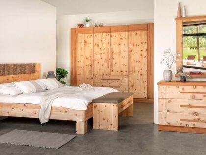 """Bett """"Atme die Natur"""" mit Vorbank"""
